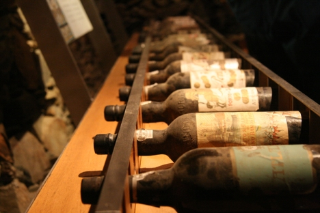 View of the collection of historical Ramos Pinto bottles kept in the cellar