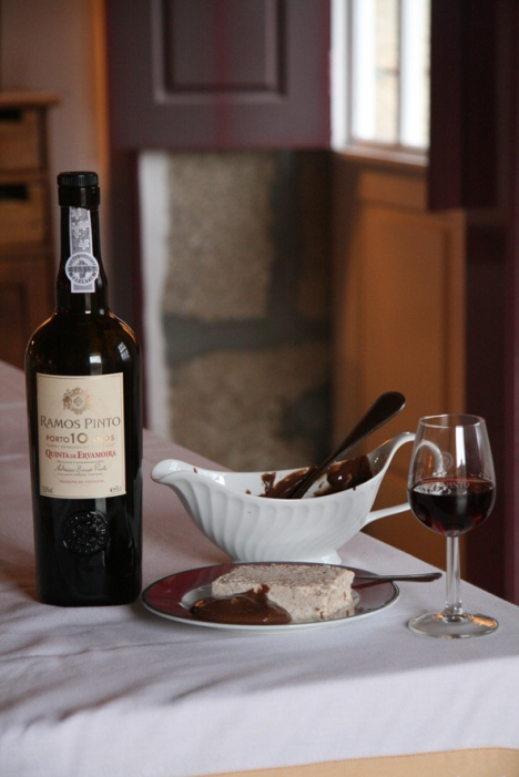A delicious home-made dessert, semifreddo with almonds and chocolate sauce, served with a 10 years old Porto from the Ramos Pinto cellar